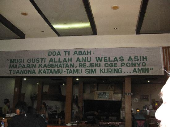 Nasi Bancakan: Some sign inside the dining area