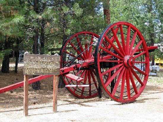 Collier Memorial State Park: Collier Logging Museum - restored high wheels (original log skidders)