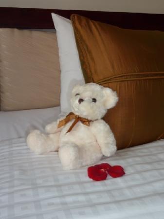 une peluche en cadeau de bienvenue par enfant des p tales de rose sur le lit picture of. Black Bedroom Furniture Sets. Home Design Ideas
