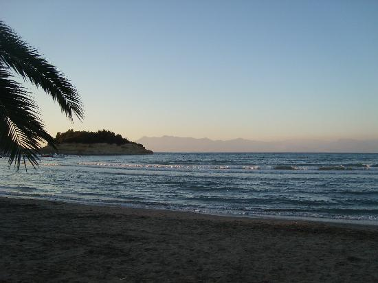 Sidari beach at sunset