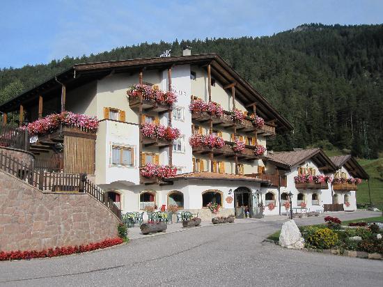 Hotel Touring : solarium in alto a sinistra, giardino a destra di fianco all'hotel