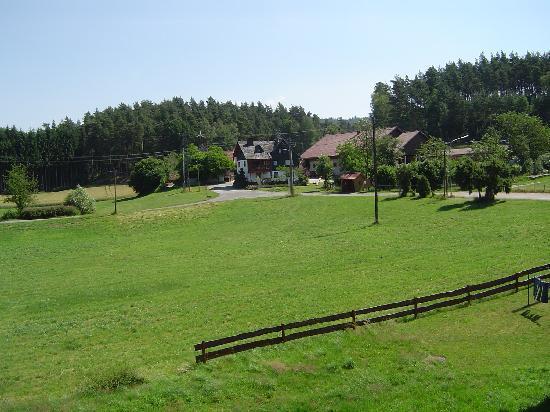 Waldhotel Bächlein: Der Blick aus unserem Zimmer auf den Frankenwald - herrlich idyllische Ruhe.