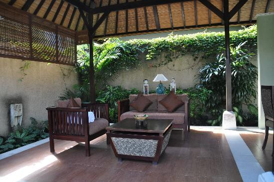 The Sanyas Suite Seminyak: sitting area in suite