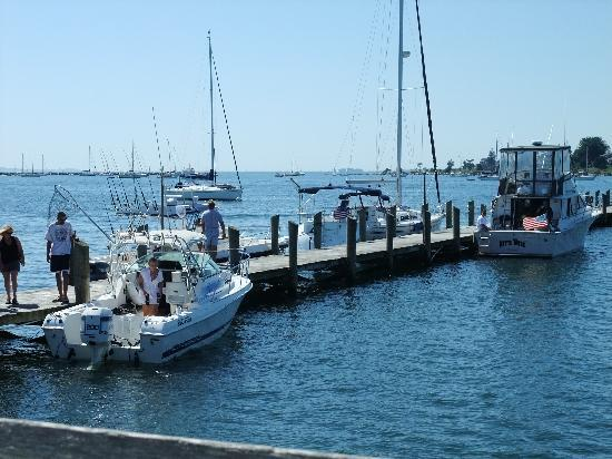 Stonington, CT: From our table. Always fun to watch other boaters.