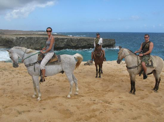 Palm - Eagle Beach, Aruba: horseback riding with El Rancho to the natural pool