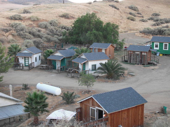 Mercey Hot Springs: view of cabins 1-5 from hill