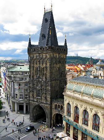 Prague, Czech Republic: Entrance to the Old city? view from the roof/