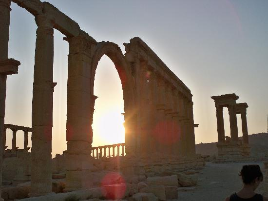 Palmyra, Syria: the sunset in the ruins