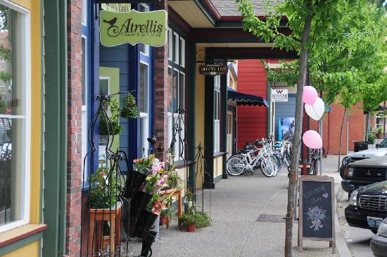 Unique shops and restaurants are found throughout the Town Green in the Town of Windsor.