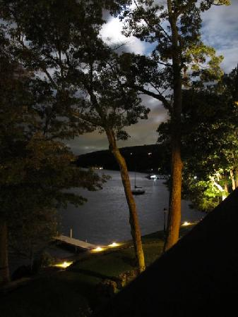 Church Landing at Mill Falls: night view from our patio