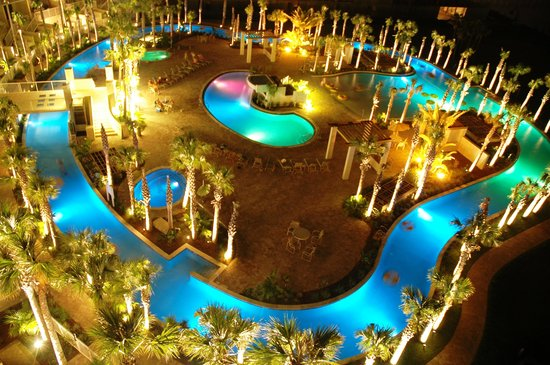 Destin West Beach and Bay Resort: Lazy River Night Shot