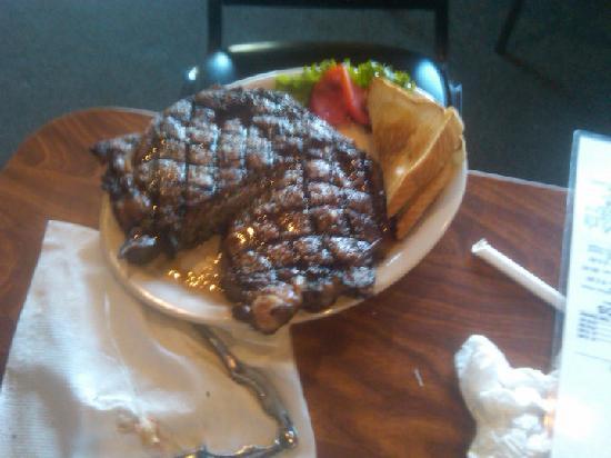 B & J's Steaks and Seafood: RIBEYE SEAK W/ SALAD BAR AND VEGGIE 15.95