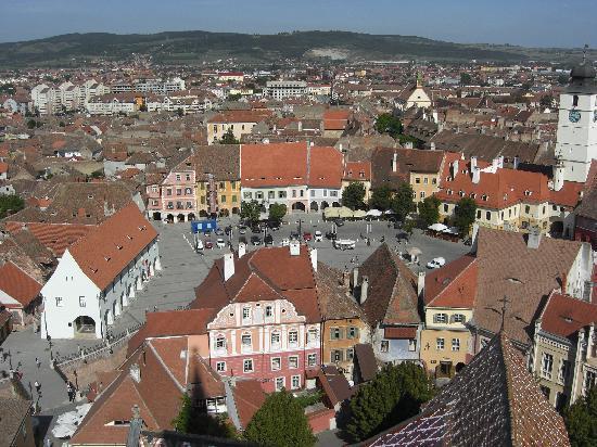 Sibiu, Rumänien: Ausblick vom Kirchenturm