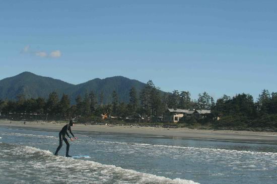 Long Beach Lodge Resort : Surfing with LBL in background