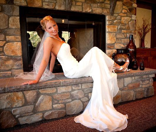 Bridal Photo on Fireplace in Main room of Cascade Valley Inn