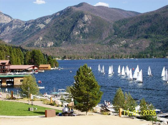 Western Riviera Lakeside Lodging & Events : View of Grand Lake from motel & cabins