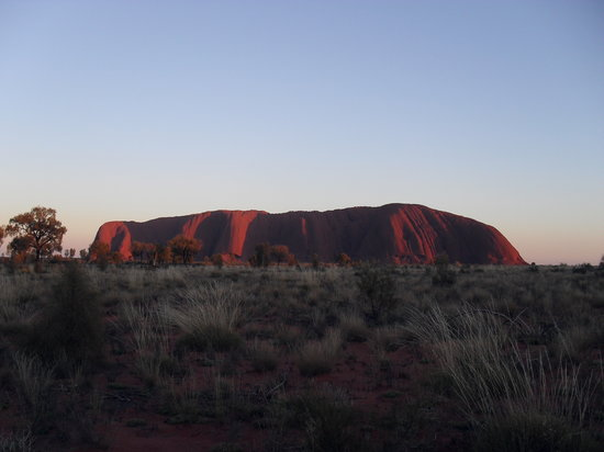 Uluru-Kata Tjuta National Park, Australia: sunrise with sun at our back