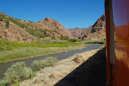Royal Gorge Route Railroad: The Royal Gorge train passes through foothills just west of Canon City