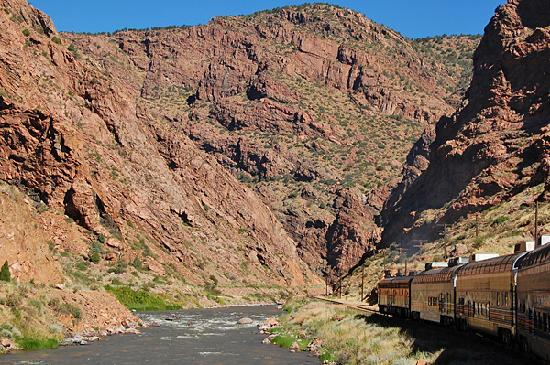 Royal Gorge Route Railroad: Approaching the entrance to the Royal Gorge canyon.