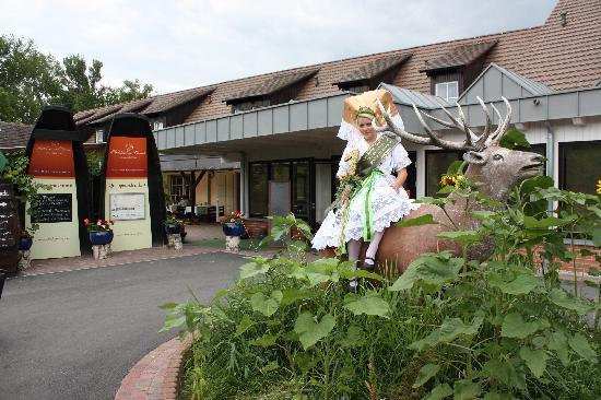 Hotelanlage Starick: Gurkenkönigin im Rondel vor dem Eingangsbereich