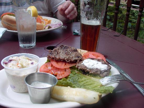 Riverside on the Root: Lunch - fish sandwich & lamb pita
