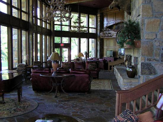 Young Harris, GA: Part of the main lounge, lake out to the left, the front lobby would be to the right of the fire