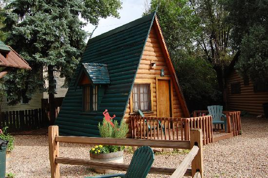 "Timber Lodge: This A-frame cabin sits next to the ""big cabin"" and sleeps two."
