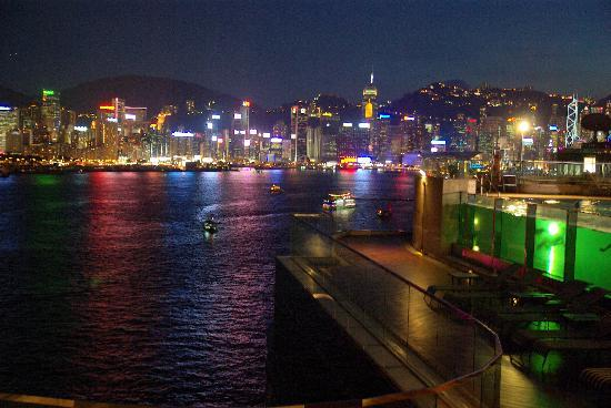 Harbour Grand Kowloon: view from the hotel pool by night