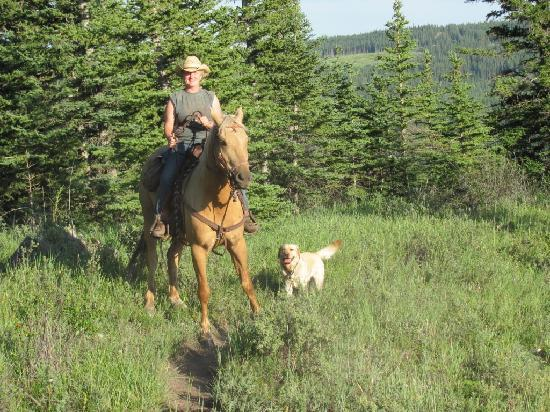 Old Entrance Trail Rides: Mary on Pal with Rosie July 2010