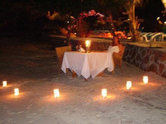 Hotel L'Archipel: Our table set for dinner on the night of our marriage