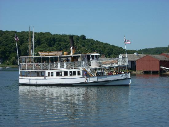 The S.S. Sabino is available for half-hour rides up and down the Mystic River.