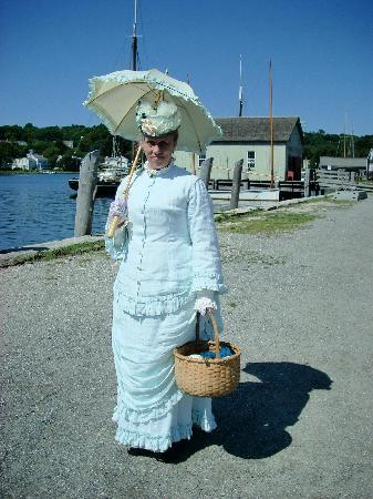 A sea captain's wife interpreting her role at Mystic Seaport.