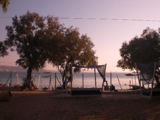 Krios Beach Camping: view of beach from restaurant