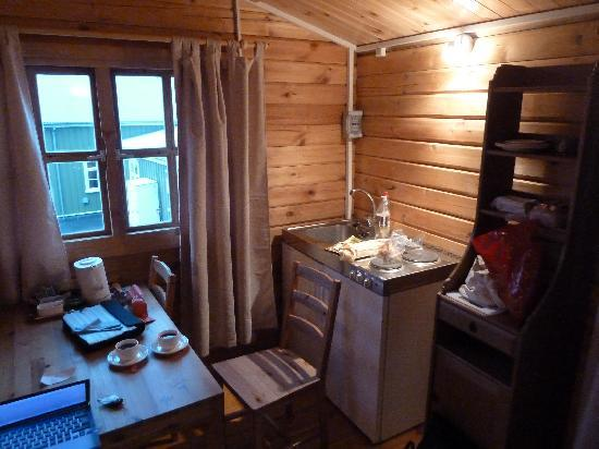 Hotel Tindastoll: Esstisch, Küche