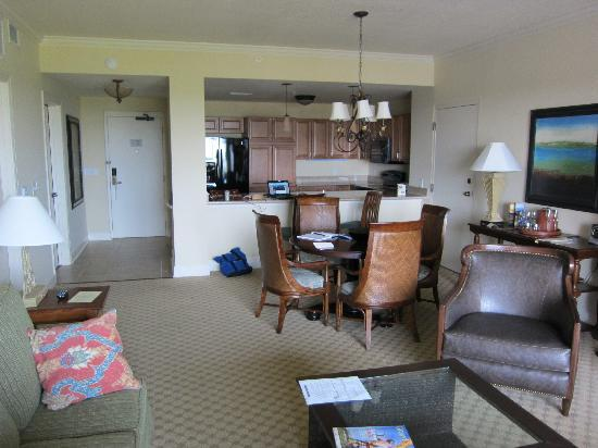 Marina Inn at Grande Dunes: Room shot. 2 1/2 feet missing is where sofa is located.