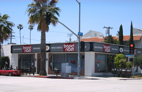 Bagel Nosh Deli: View from Wilshire Blvd.