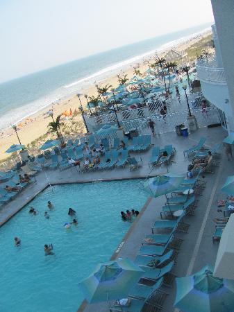 Hilton Suites Ocean City Oceanfront View Of Pool From Room Deck