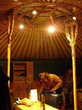 Rochers-de-Naye Yurts: Yurt Interior with low table & cabinets