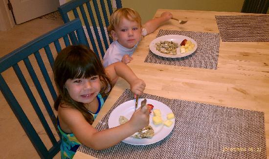 Islander Bayside Townhomes, a Guy Harvey Outpost: kids enjoying fresh fruit, and waffles..