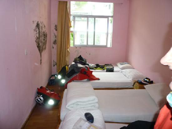 Sherpa Hotel: Habitación horrible con mancha de humedad a la izquierda