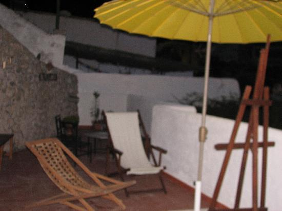 Cuevas El Abanico: upstairs terrace at night-very private