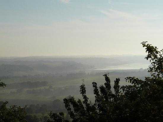 Langres, France : Morning mist over Lac de la Liez