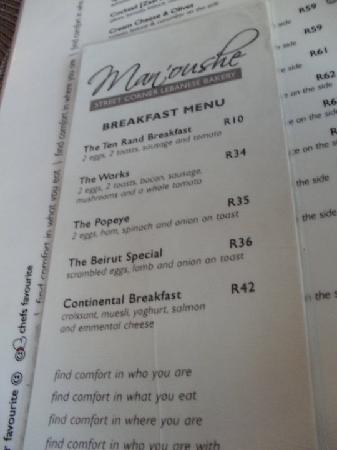 "Man'oushe Restaurant : Breakfast Menu! Note the ""Ten Rand Breakfast"" - fantastic"