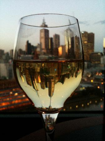 The Langham, Melbourne: View through wineglass