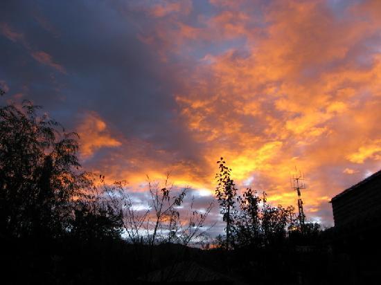 The Bruce Chalet: Evening glow in garden