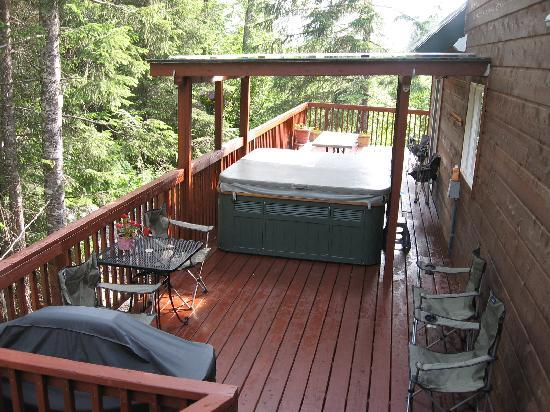 Havenwood Guest House: hot tub and grill on back deck