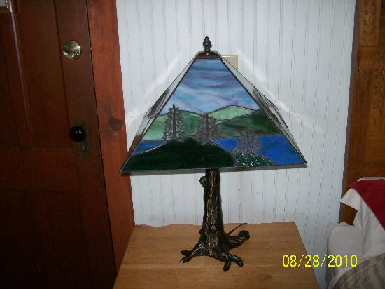 The Woods Inn: Adirondack lamp in our room