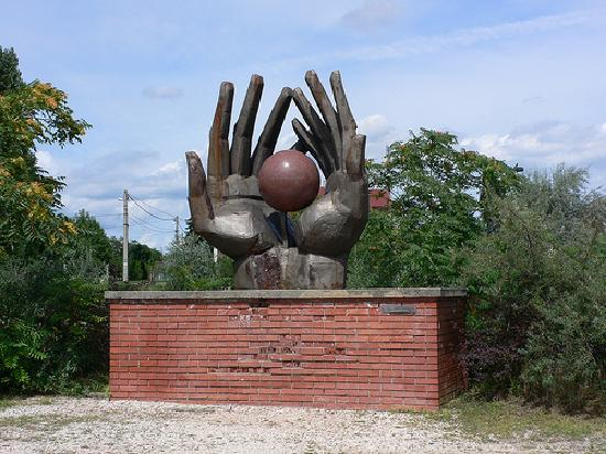 Statues Of Hands At Memento Park Budapest By