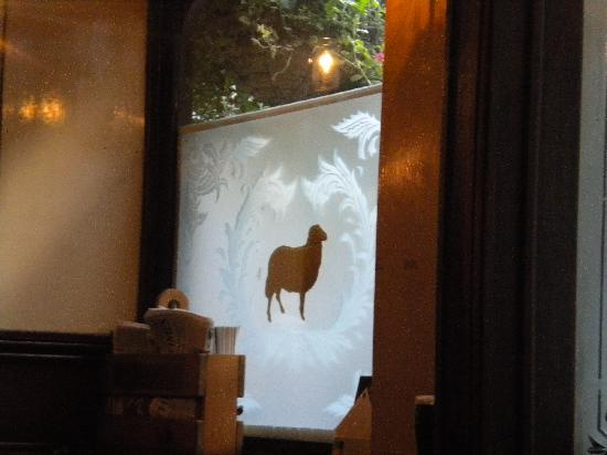 The Lamb: nice etching on the windows