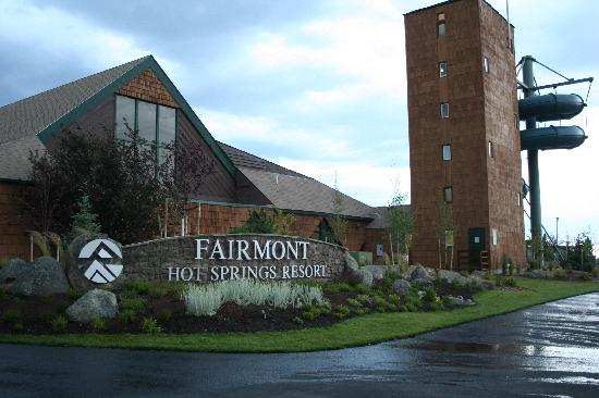 Fairmont Hot Springs Resort Front With Waterslide Tower To Right